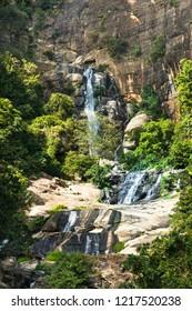 Ravana Falls or Ravana Ella waterfalls is a popular sightseeing attraction near Ella Sri Lanka. Ravana Falls ranks as one of the widest falls in Sri Lanka.