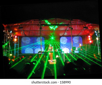 Rave Party. DJ and lights