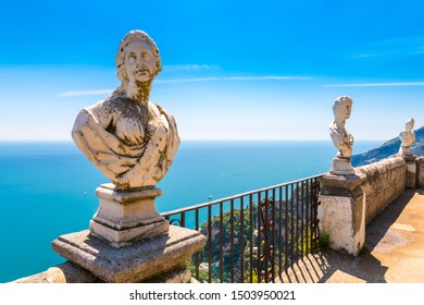 Ravello - April 19, 2019: Belvedere of the Villa Cimbrone also known as Terrazza dell'Infinito (Terrace of Infinity) lined by a series of marble busts, Amalfi coast, Italy.