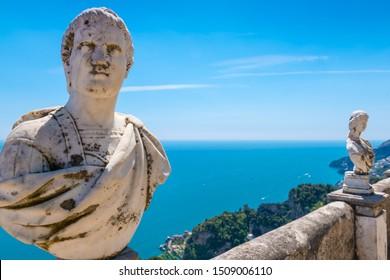 Ravello - April 19, 2019: Marble busts on the Terrace of Infinity (Terrazza dell'Infinito) at Villa Cimbrone, Amalfi coast, Italy.