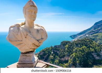 Ravello - April 19, 2019: Marble bust on the Terrace of Infinity (Terrazza dell'Infinito) at Villa Cimbrone, Amalfi coast, Italy.