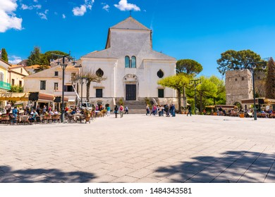 Ravello - April 19, 2019: View of the Cathedral (Duomo) which faces the main square in Ravello, Amalfi Coast, Salerno.