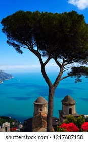 Ravello Campania Italy-April 2018 The Villa Rufolo in Ravello has fantastic views down the Amalfi Coast from its gardens and terraces.Wagner wrote some of his operas staying at the Villa Rufolo