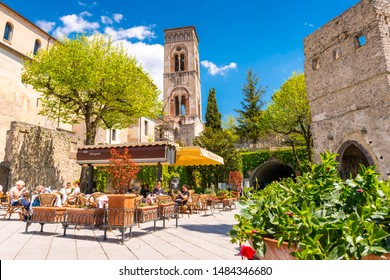 Ravello, Italy - April 19, 2019: Architecture of Ravello with old bell tower at sunny day.