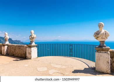 Ravello, Italy - April 19, 2019: Belvedere of the Villa Cimbrone also known as Terrazza dell'Infinito (Terrace of Infinity) lined by a series of marble busts, Amalfi coast, Italy.