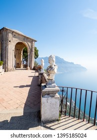 Ravello Italy, April 2019. View of the famous statues and the Mediterranean Sea from the Terrace of Infinity at the gardens of Villa Cimbrone, Ravello, Southern Italy. Photographed at sunny day.