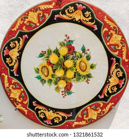 Ravello, Italy - June 16, 2017: a ceramic table top sold in Ravello, Amalfi Coast. Italy
