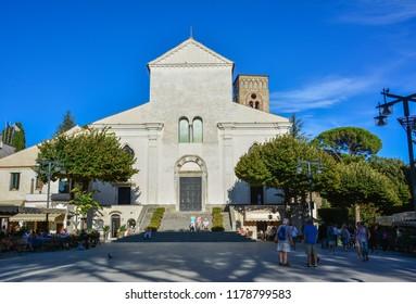 Ravello / Italy — September 18, 2017: white facade of Duomo di Ravello, or Basilica di Santa Maria Assunta e San Pantaleone, a cathedral of the town of Ravello, located on the rock above Amalfi coast