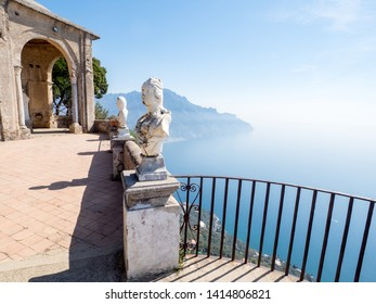 Ravello, Italy. View of the Mediterranean Sea with white statues in the foreground. Photo taken from the Terrace of Infinity at the gardens of Villa Cimbrone, Amalfi Coast, april 2019