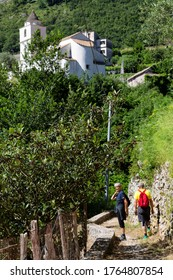 RAVELLO SCALA, ITALY - JUNE 21, 2020 - The trekking route from Scala to Ravello in Amalfi coast is dedicated to both experts and beginners: 10 km of paths between the small hill villages and the sea