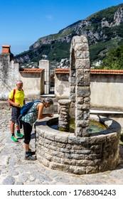 RAVELLO SCALA, ITALY - JUNE 21, 2020: The little village of Minuta, along the trekking route from Scala to Ravello in Amalfi coast