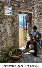 RAVELLO SCALA, ITALY - JUNE 21, 2020 - The entrance to the ruins of the basilica Sant' Eustachio along the trekking route from Scala to Ravello in Amalfi coast