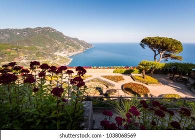 Ravello, Villa Rufolo at sunset, Amalfi Coast, Italy