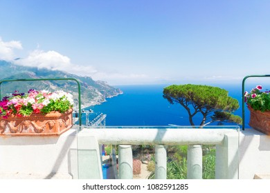 Ravello village balcon and sea view, Amalfi coast of Italy