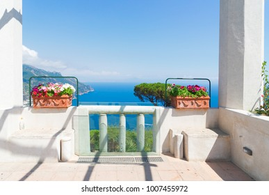 Ravello village gallery balcon and sea view, Amalfi coast of Italy