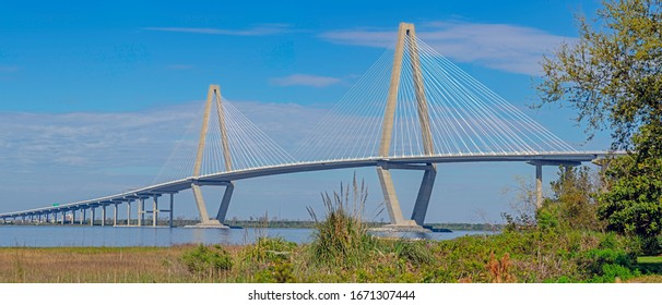 Ravenel Bridge, aka Cooper River Bridge, opened in 2005. A cable-stayed bridge, it connects Charleston to Mount Pleasant and carries traffic on US-17 in the Low Country of South Carolina.