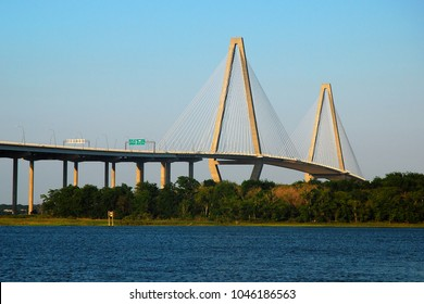 The Ravenel Bridge crosses the Ashely River, connecting Charleston and Mt Pleasant, South Carolina