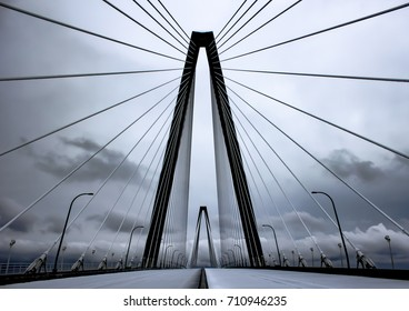 """""""Ravenel Web"""" -  A view of the Ravenel Bridge and all it's cables that support the bridge.  This was taken in Charleston, SC during the 2014 snowstorm that shutdown the entire city."""