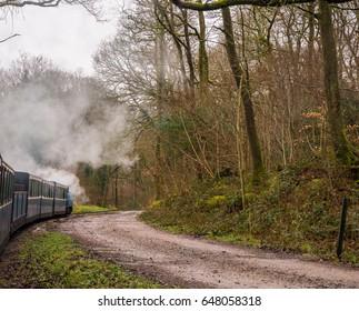 Ravenglass, Cumbria, UK. 30th April 2017. Steam train running through the countryside on the Ravenglass and Eskdale Steam Railway, Ravenglass, Cumbria, UK
