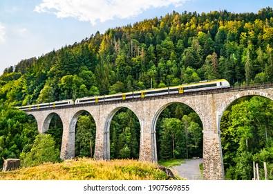 The Ravenna Bridge railway viaduct on the Hollental Railway in the Black Forest, Baden-Wurttemberg, Germany