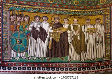 Ravenna, Emilia-Romagna / Italy. April 11, 2011. Mosaic of the East-Roman Emperor Justinian I (with halo) with court officials, Bishop Maximian, guards and deacons. Basilica di San Vitale, 547 AD.