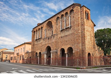 Ravenna, Emilia-Romagna, Italy: the facade of the so-called Palace of Theoderic, the remains of an ancient palace, in the old town of the city