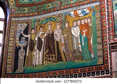 Ravenna, Italy - 01.12.2018: Early Christian Mosaic at San Vitale Church in Ravenna. Famous portrait of Byzantine queen Theodora.