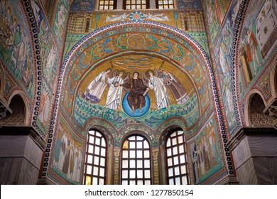 Ravenna, Italy - 01.12.2018: Famous Early Christian Mosaics at San Vitale Church in Ravenna.