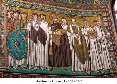Ravenna, Italy - 01.12.2018: Famous Early Christian Mosaics at San Vitale Church in Ravenna. Portrait of Byzantine king Justinian.