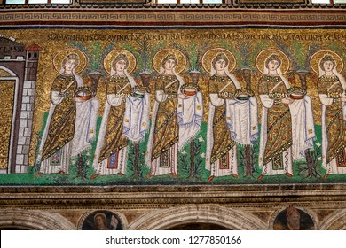 Ravenna, Italy - 01.12.2018: Famous Early Christian mosaics from Basilica Saint Apollinare Nuovo in Ravenna.