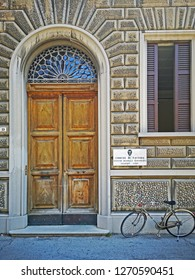 RAVENNA, ITALY –JULY 18, 2018: medieval house main door. The Ravenna county located in the building the Giuseppe Verdi musical institute.