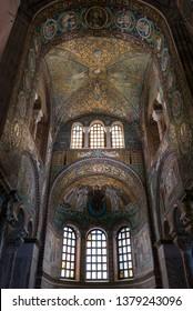 RAVENNA, ITALY 2018 AUGUST 03: Mosaics in the Basilica of San Vitale in Ravenna