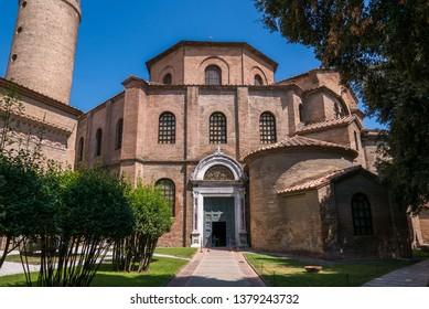 RAVENNA, ITALY 2018 AUGUST 03: Basilica of San Vitale in Ravenna