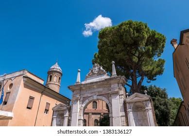 RAVENNA, ITALY 2018 AUGUST 03:  Entrance to enter the Basilica of San Vitale in Ravenna, Italy