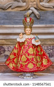 RAVENNA, ITALY - AUGUST 2, 2018: Infant Jesus of Prague holding cruciger inside  Church of Saint Mary of Suffrage in Ravenna