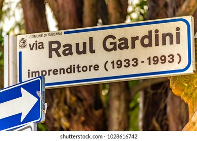 RAVENNA, ITALY - FEBRUARY 15, 2018: Road dedicated to Raul Gardini. The manager committed suicide 25 years ago