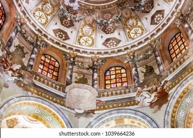 RAVENNA, ITALY - FEBRUARY 25, 2018: the American business magazine Forbes chose Ravenna and its mosaics in Saint Vitalis Basilica as one of the 5 world destinations to visit in 2018