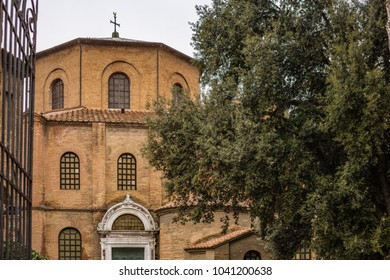 RAVENNA, ITALY - FEBRUARY 25, 2018: In 2017 more than 3 million tourists visited the art cities of Emilia Romagna to enjoy UNESCO destinations as the Basilica of San Vitale in Ravenna.