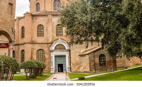 RAVENNA, ITALY - FEBRUARY 25, 2018: In 2017 more than three million tourists visited the art cities of Emilia Romagna to enjoy UNESCO destinations as the Basilica of San Vitale in Ravenna.