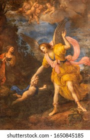 RAVENNA, ITALY - JANUARY 28, 2020: The painting of Guardian angel in church Chiesa di Santa Maria del Porto by Vincenzo Spisano from 17. cent.