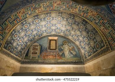 Ravenna, Italy - July 24, 2016: Mausoleum of Galla Placidia