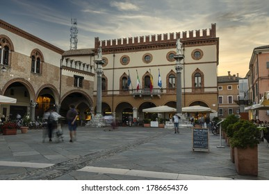 Ravenna, Italy. July 28, 2020.  the historic buildings in  piazza del popolo