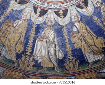 RAVENNA, ITALY - JUNE 15, 2017: Ceiling mosaics in Baptistery of Neon, the most ancient monument remaining in Ravenna. Early Christian Monuments of Ravenna is listed as UNESCO World Heritage