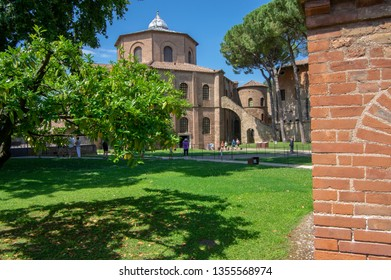 Ravenna / ITALY - June 20, 2018: San Vitale Basilica amazing beautiful historic building, place of interest. Sunny day and blue sky.