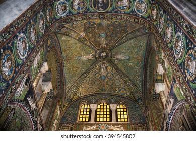 RAVENNA, ITALY - MARCH 12 2016: Mosaics from San Vitale's Basilica, ca. 550AD, byzantine art in Italy