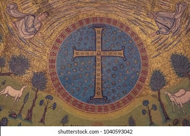RAVENNA, ITALY - MARCH, 2013: view of interior detail of Basilica Saint Apollinare in Classe:  the Byzantine mosaic in the apse  in Ravenna, Emilia-Romagna, Italy