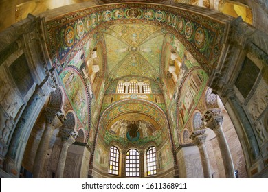 Ravenna, Italy - May 12, 2013: Rich decorated walls and ceiling of the Basilica di San Vitale in Ravenna, Italy. Rare example of early Christian Byzantine art in Europe.