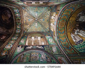 RAVENNA, ITALY - NOVEMBER 4, 2012: mosaic in Basilica San Vitale in Ravenna city. Construction of the church was begun by Bishop Ecclesius in 527.
