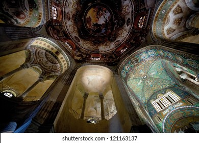 RAVENNA, ITALY - NOVEMBER 4: apse and Ceiling Mosaic in Basilica San Vitale. The church was begun by Bishop Ecclesius in 527, in Ravenna, Italy on November 4, 2012