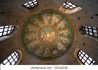 RAVENNA, ITALY - NOVEMBER 4: Ceiling Mosaic of the Arian Baptistery. It was erected by the Ostrogothic King Theodoric the Great at the end of the 5th century in Ravenna, Italy on November 4, 2012